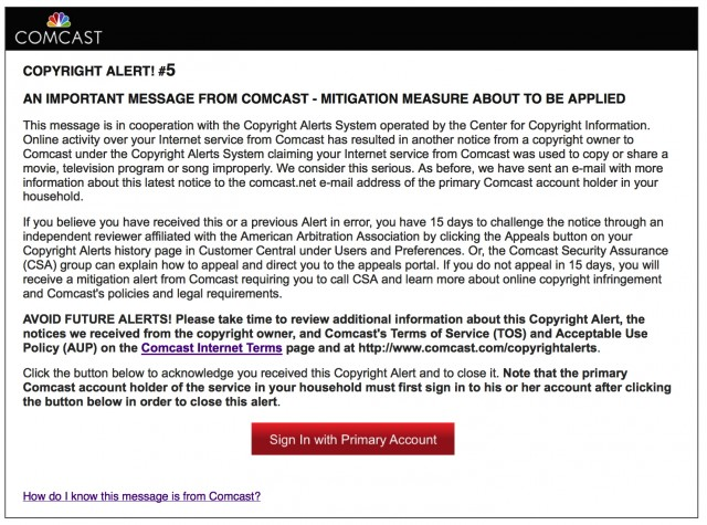 Comcast warning